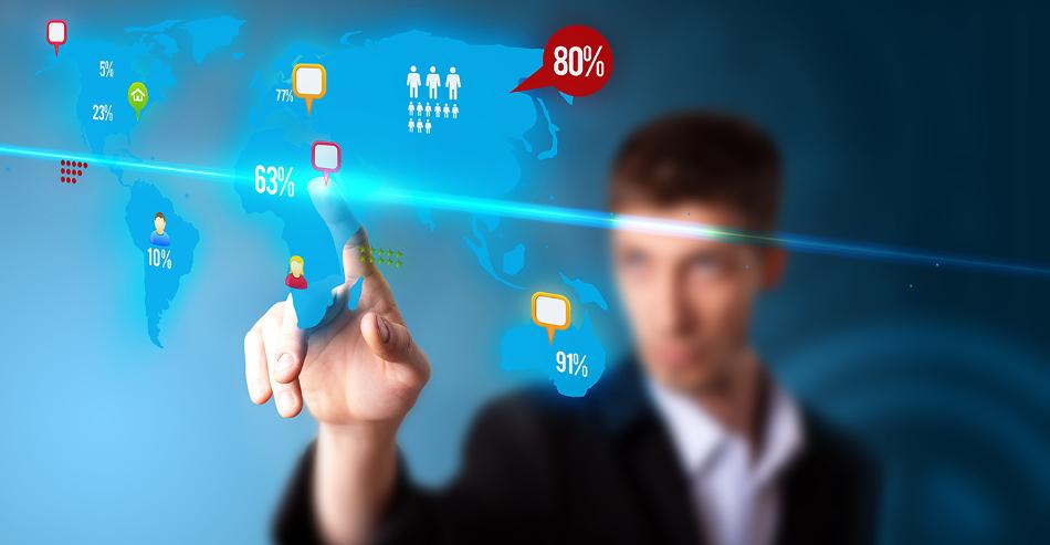 Businessman pressing social media button on digital map, futuristic technology