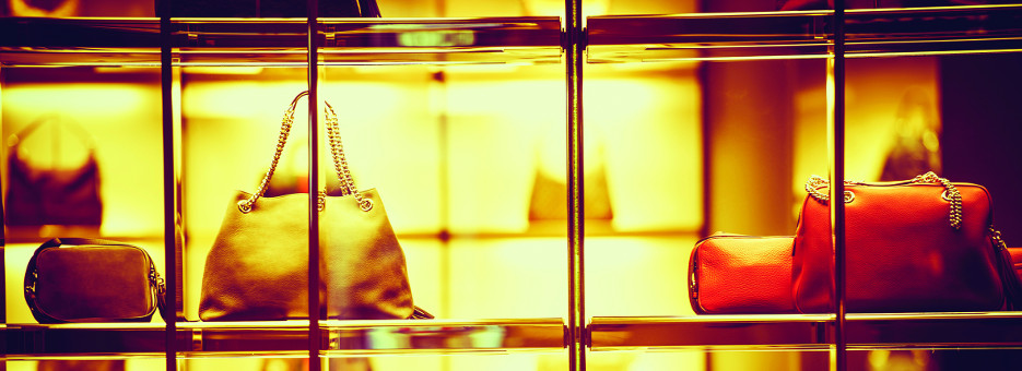 Luxury Goods Shopping. Luxury Purse Products For Woman. Store Front Closeup.